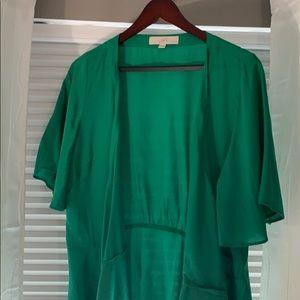 Final price drop: LOFT  Petite L green wrap blouse